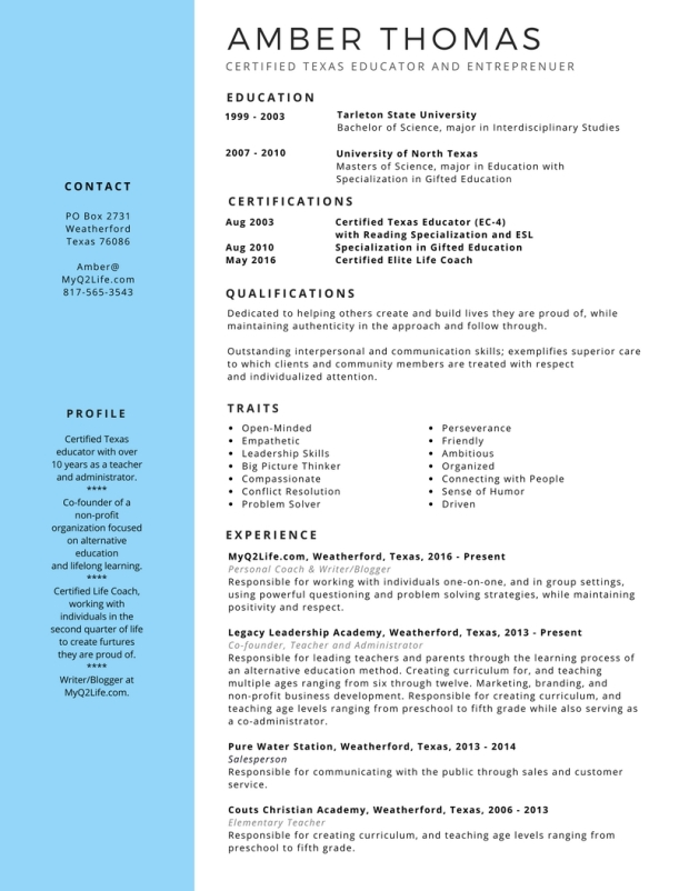 Amber Thomas resume web image